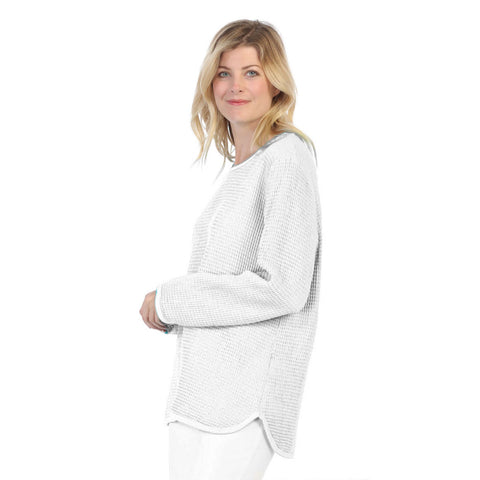 Focus Waffle Long Sleeve Cotton Top in White - C691-WHT