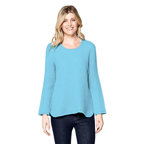 Focus Waffle Long Sleeve Cotton Top in Sky - C691-SKY