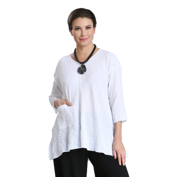 IC Collection Pucker Knit Pocket Tunic in White - 2344T - Sizes S & XL Only