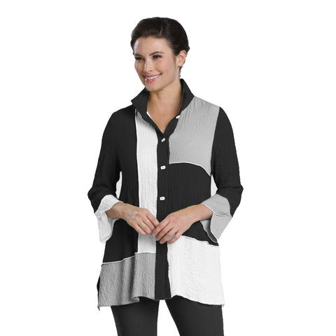 IC Collection Colorblock Button Front Shirt in Black/White/Grey - 1521J-BLK