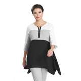 IC Collection Zip Front Colorblock Tunic in Black, White & Grey - 1564T