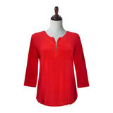 Valentina Signa Solid Zip Front Top in Red - PH-Z-RED