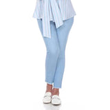 "Mesmerize ""Joe"" Straight Leg Pull-On Ankle Pant in Light Denim Blue - Joe-LTBLU"