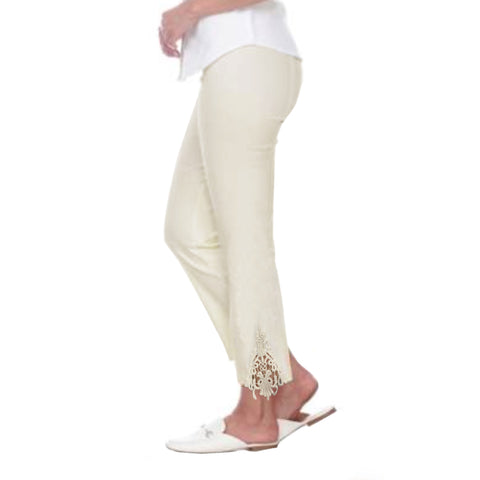 "Mesmerize ""Valentina"" Lace Trim Ankle Pant in Ivory - Val-IV - Size 4 Only"