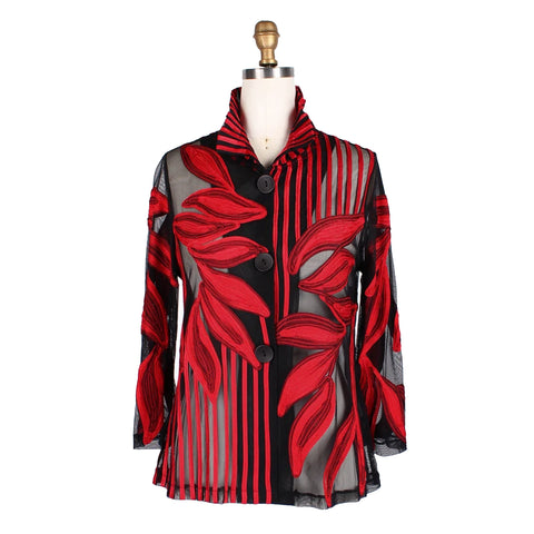 Damee Mixed Leaf & Stripe Soutache Jacket in Red - 2349-RD