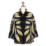 Damee Metallic Leaf Soutache Jacket in Gold - 2348-GLD