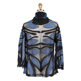 Damee Metallic Leaf Soutache Jacket in Blue - 2348-BLU