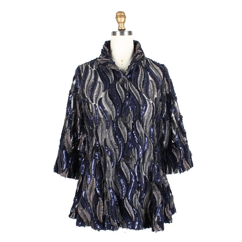 Damee Feather Embroidered Soutache Jacket in Navy - 2351-NVY