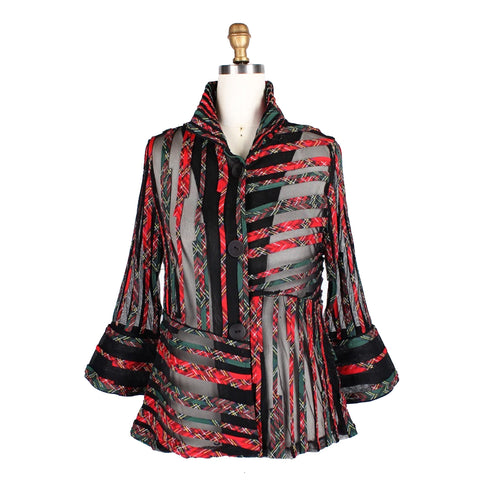 Damee Symmetric Striped Soutache Jacket in Red/Green- 2353-GRN