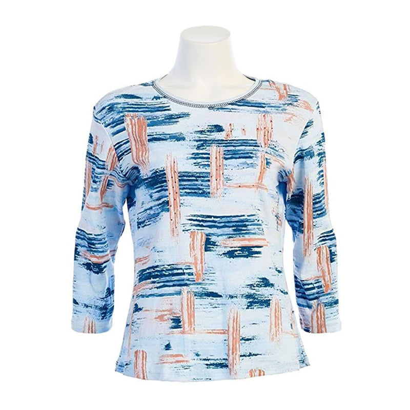 "Jess & Jane ""Breeze"" Abstract Print Top in Blue/Multi - 14-867 - Size 2X & 3X Only"