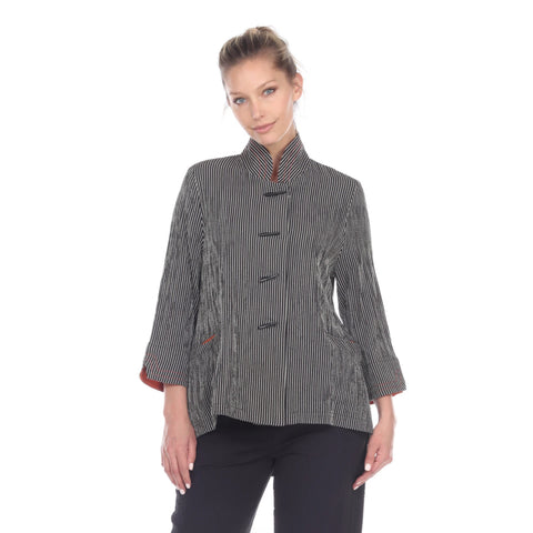 Moonlight Striped High-Low Button Front Jacket - 2075