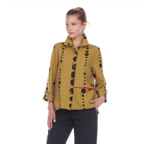 Moonlight Polka Dot Button Front Jacket in Mustard - 2342-MUS