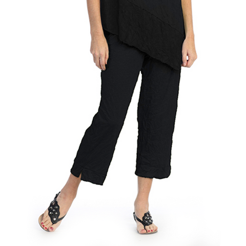 Crinkle Comfort by Jess and Jane Crushed Capri Pants in Black - MC106