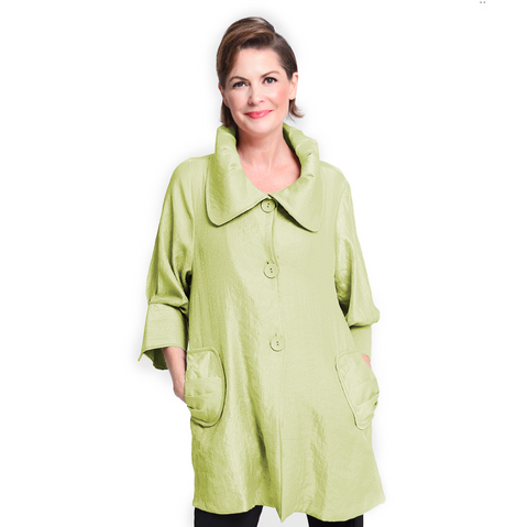 Damee NYC Shimmery Signature Swing Jacket in Lime -  200 -LM