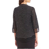 IC Collection Mesh Laser Cut Out Dressy Asymmetric Jacket - 1130J