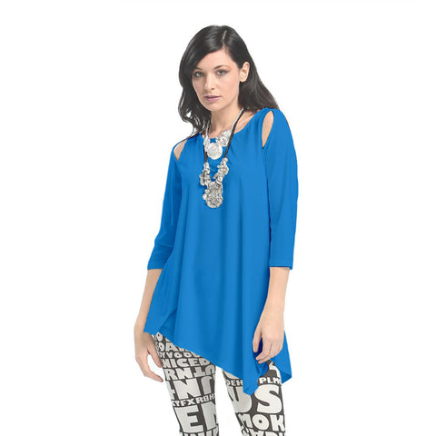 IC Collection Solid Cold Shoulder Angle Hem Tunic in Blue - 6615-BLU