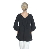 IC Collection Solid Black Scoop Back Blouse w/ Cascading BOW- BLACK on BLACK -1028B-BLK