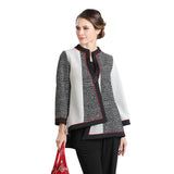 IC Collection Mixed Media Soft Knit Asymmetric Jacket in Multi - 2076J-Red