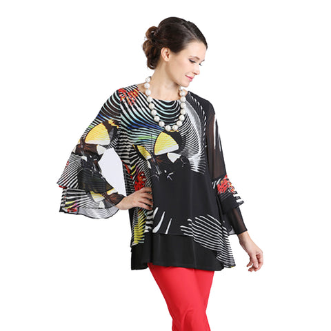 IC Collection Abstract Print Tunic in Black/Multi - 2000T - Sizes M & XXL Only
