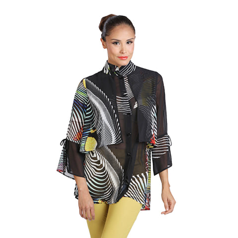 IC Collection Sheer Layered Butterfly Print Blouse - 1237T
