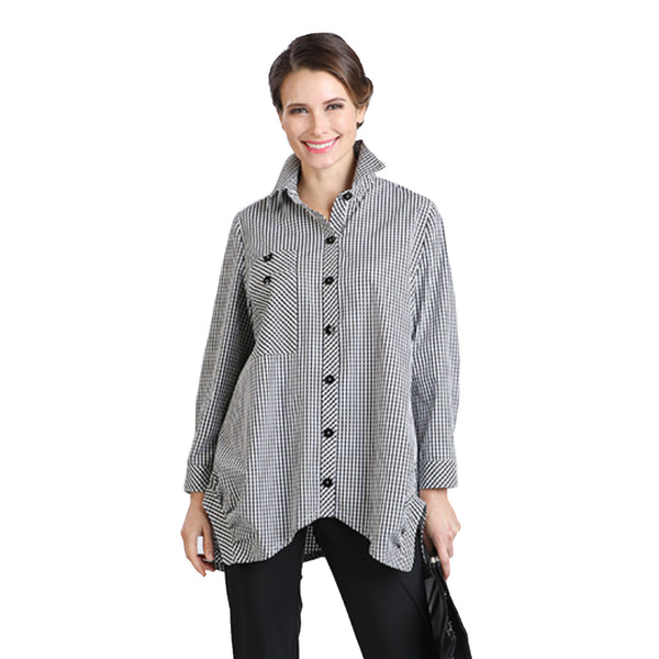 IC Collection Check Long Pocket Shirt Blouse - 8423B-BLK - Sizes S & XL Only