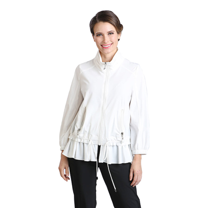 IC Collection Cinched Zip-Front Jacket in White - 8427J-WHT - Sizes L & XXL