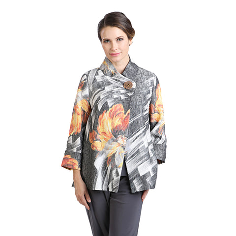 IC Collection Brush Floral Print Jacket in Grey/Multi - 1218J - Size XL Only