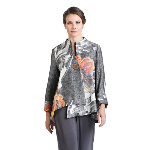 IC Collection Brush Floral Print Asymmetric Jacket in Grey Multi - 2063J