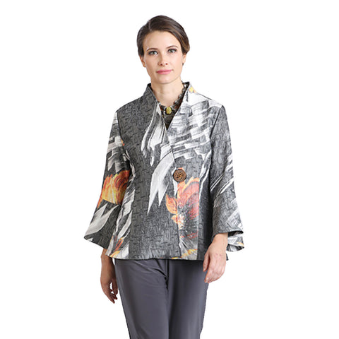 IC Collection Brush Floral Print Collarless Jacket in Grey Multi - 2006J