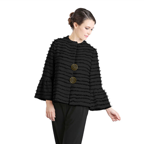 IC Collection Eyelash Fringe Two-Button Jacket in Black - 1220J-BLK