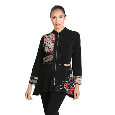 IC Collection Floral Print Zip Front Jacket - 1390J - Sizes S & XL Only
