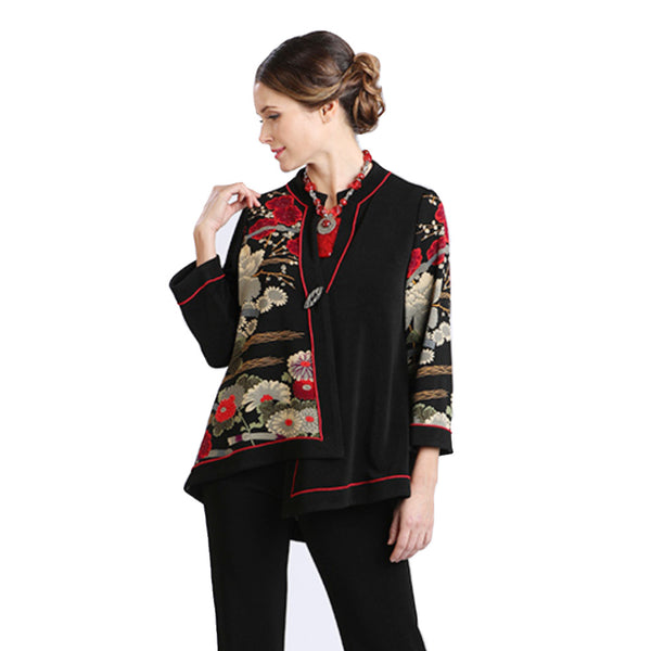 IC Collection Textured Mixed Floral Print Jacket - Red/Black - 2083J-BLK - Size S Only