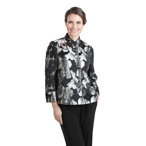 IC Collection Floral Jacquard Short Jacket in Silver/Black  - 2062J-SLV