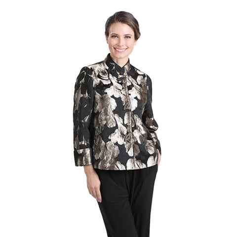 IC Collection Brocade Button Front Short Jacket in Gold - 2062J-GLD- Sizes L & XXL Only