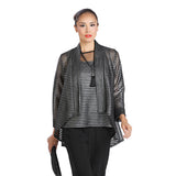 IC Collection Sheer Metallic Stripe Jacket & Top in Silver/Black - 1214JT - Size M Only