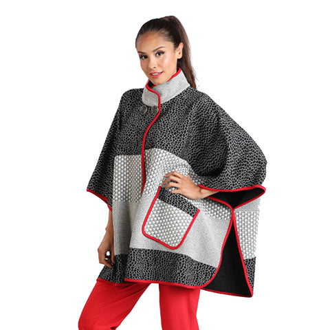 IC Collection Mixed Media Poncho Multi - 2059PC-RD
