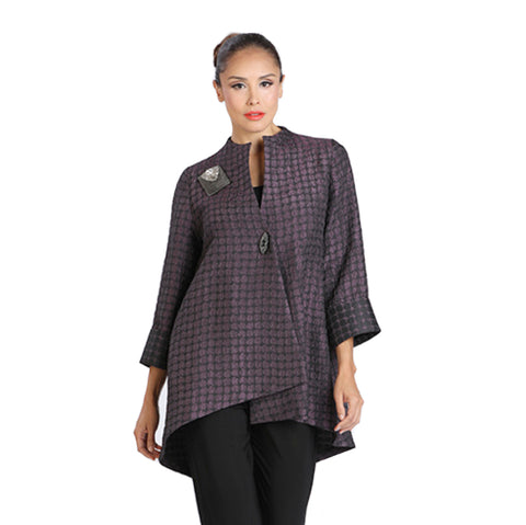 IC Collection Two Tone Long High-Low Asymmetric Jacket in Plum - 2082J-PLM