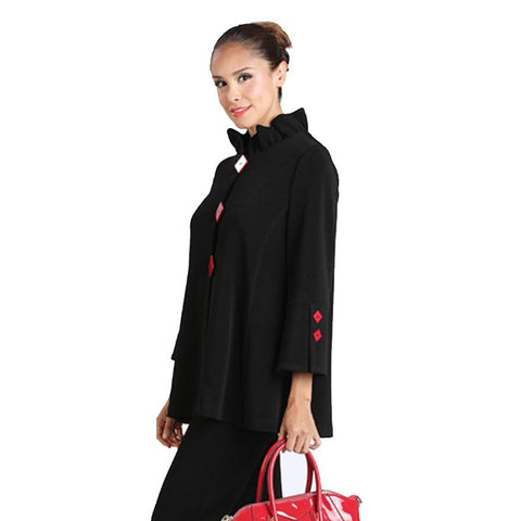 IC Collection Button Front Jacket w/Ruffle Collar in Black/Red - 2090J