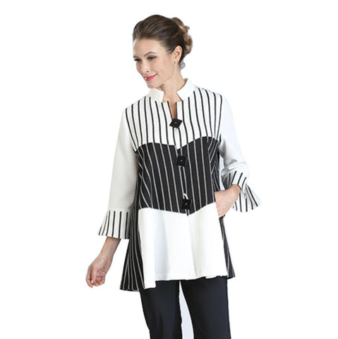 IC Collection Mixed Stripe Jacket in White/Black - 3040J-WT