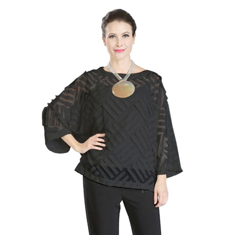 IC Collection Stripe Mesh Jacquard Top in Black - 3380T-BLK - Size S Only