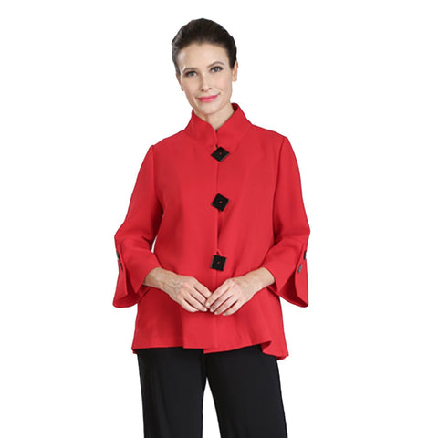 IC Collection Accordian-Back Bell Sleeve Jacket in Red/Black - 2142J-RD - Sizes L - XXL
