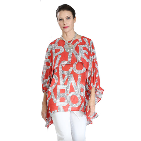 IC Collection Sheer Tiered Letter Print Blouse in Red/White - 2128T