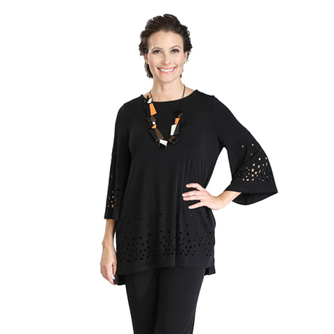 IC Collection Laser-Cut High Low Knit Tunic in Black - 3368T-BK