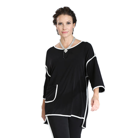 IC Collection Soft Stretch Knit High-Low Tunic w/Piping Trim 3357T-BLK - Sizes S, M & L