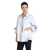IC Collection Button Front Gingham Trimmed Blouse - White/Black - 3406B-WHT