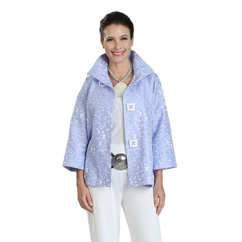 IC Collection Jacquard High-Low Jacket in Sky Blue/White - 8460J-SKY ♥ Just In!