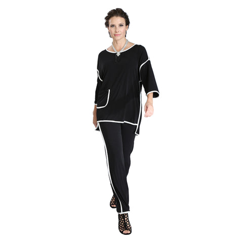 IC Collection Stretch Knit Pant w/Piping Trim  - 3358P-BLK
