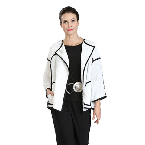 IC Collection Open Front Textured Jacket in Black & White - 3483J-WHT