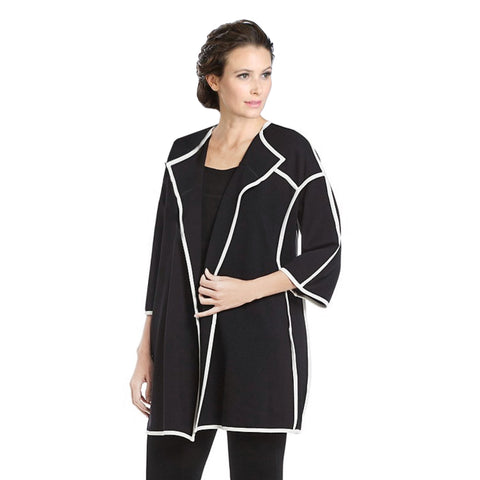 IC Collection Long Open Front Cardigan Jacket in Black w/White Piping Trim - 3411J