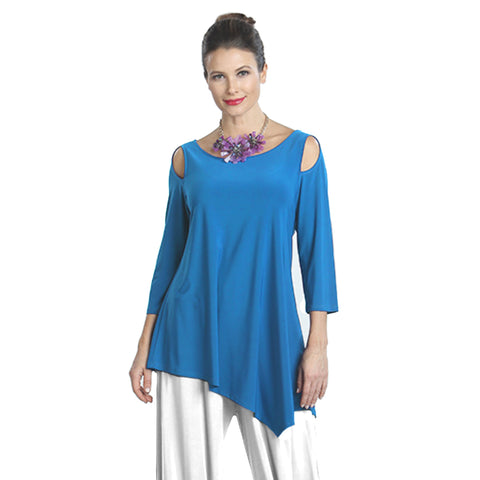 IC Collection Solid Open-Shoulder Tunic in Blue - 6615-BLU